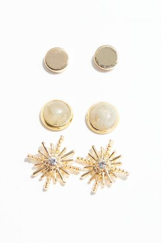 Gold Starburst Stud Earring Set GREY MULTI -