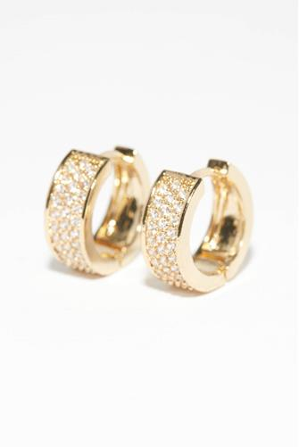 Thick Mini Cubic Zirconia Hoop Earrings GOLD