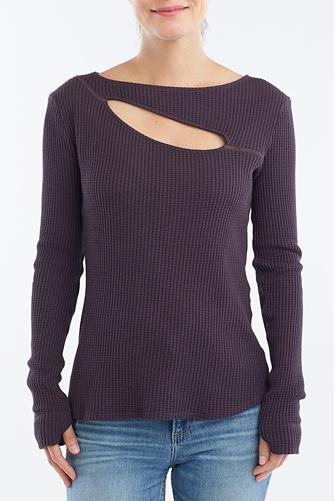 Wine Cut Out Thermal Top WINE