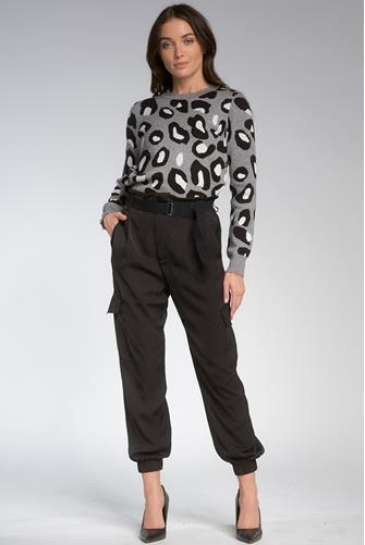 Leopard Print Crewneck Sweater GREY MULTI -
