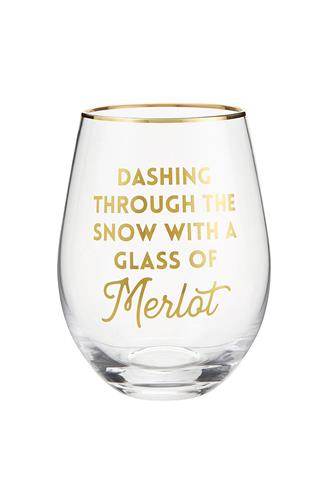 Merlot Holiday Wine Glass CLEAR