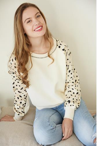Mixed Media Dotted Sleeve Sweater IVORY