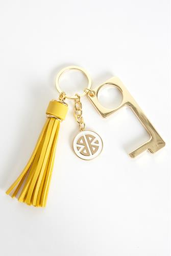 Yellow Don't Touch That! Keychain YELLOW