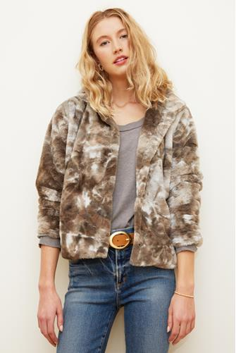 Tie Dye Canyon Fur Jacket GREY MULTI -