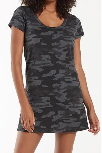 Payton Black Camo Tee Dress CAMO