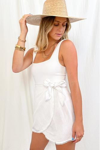 Iva White Linen Wrap Skirt WHITE