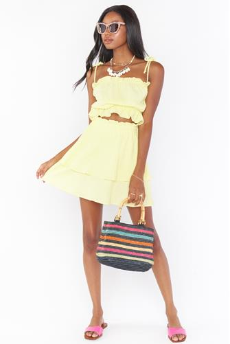 Yellow Aiden Tiered Mini Skirt YELLOW