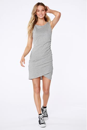 Ruched Jersey Tank Dress GREY