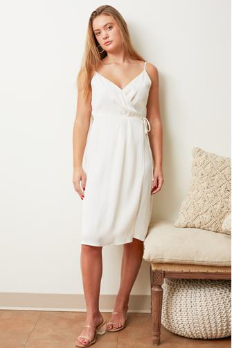 Surplice Faux Wrap Dress IVORY