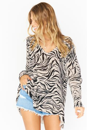 Zebra Print Hug Me Sweater WHITE MULTI -