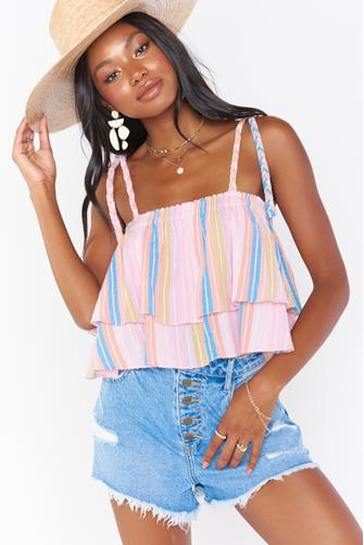 Klum Ruffle Stripe Top MULTI