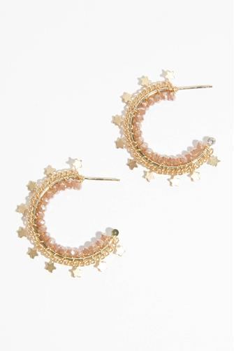 Beads & Stars Small Hoop Earrings PINK MULTI -