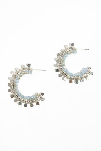 Bead Circle Charm Small Hoop Earrings SILVER