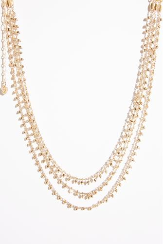 Multi Strand Gold Bead Necklace GOLD