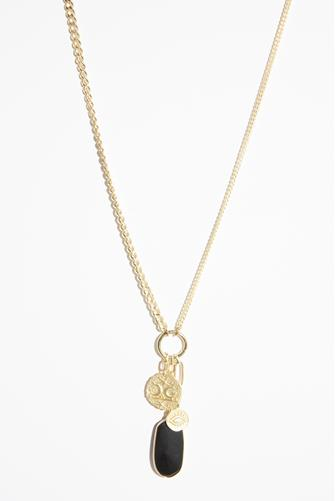 Gold Mixed Chain Charm Necklace BLACK