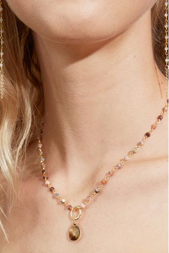 Beaded Chain Stone Necklace PINK MULTI -