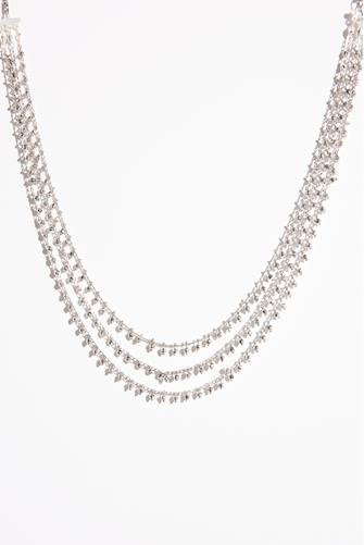 Multi Strand Silver Bead Necklace SILVER