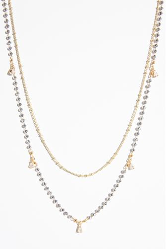 Gold & Silver Beaded Double Chain Necklace GOLD