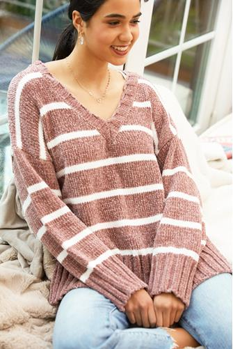 Striped Chenille V-Neck Sweater LITE PINK