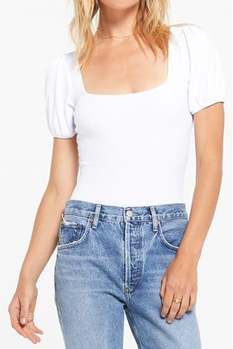Lucy Rib Puff Sleeve Bodysuit WHITE
