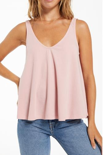 Heather Organic Swing V-Neck Tank Top PINK