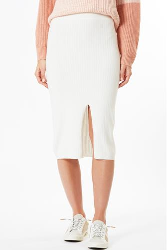 Sweater Knit Ribbed Slit Pencil Skirt IVORY