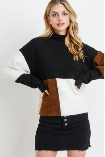 Colorblock Turtleneck Sweater BLACK MULTI -