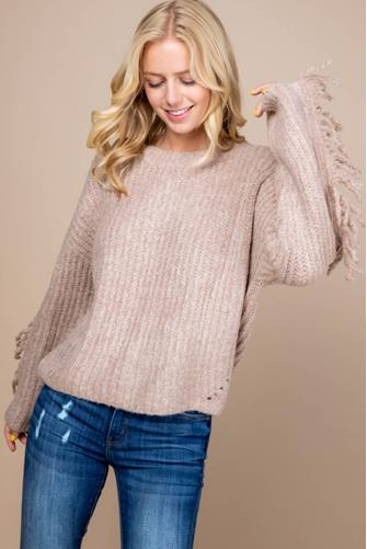 Ribbed Fringe Sweater TAUPE