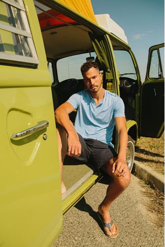 Burnout Short Sleeve Henley BLUE
