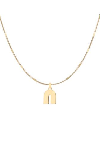 N Modernist Monogram Pendant Necklace GOLD