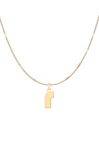 R Modernist Monogram Pendant Necklace GOLD