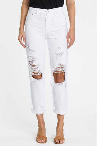 Presley Hi Rise Relaxed Roller Jean in White WHITE