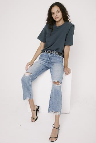 Cassie Super Hi Rise Straight Leg Crop Jean in Los Feliz LIGHT DENIM -