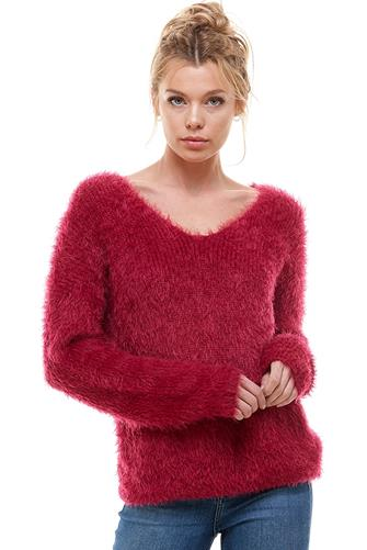 Twist Back Eyelash Sweater BERRY