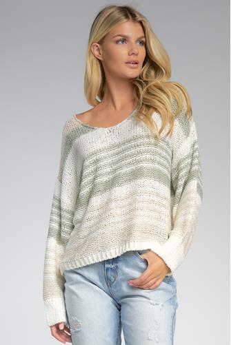Striped V-Neck Pullover SAGE
