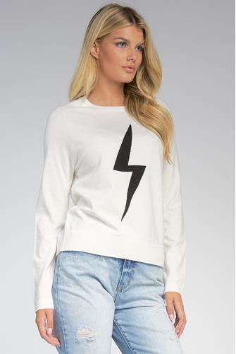 Lightning Bolt Crewneck Sweater WHITE MULTI -
