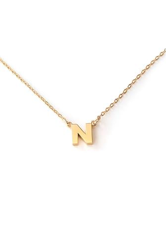 N Initial Necklace GOLD