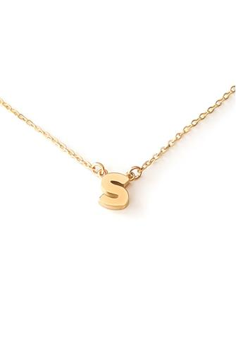 S Initial Necklace GOLD