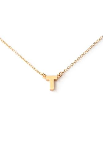 T Initial Necklace GOLD