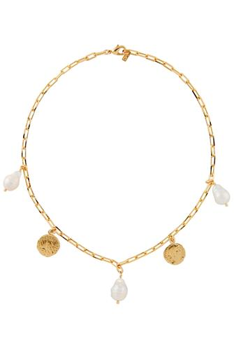 Monet Pearl & Coin Necklace GOLD