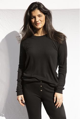 Textured Black Lounge Crewneck Top BLACK