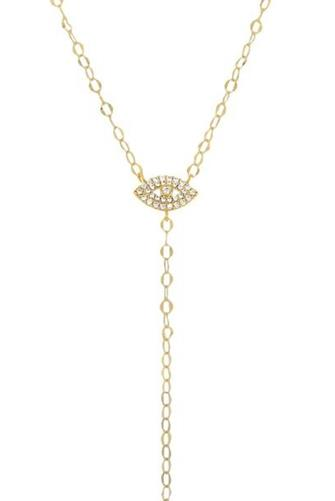 Evil Eye Lariat Necklace GOLD