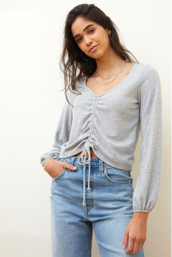 Ruched Front Textured Knit Long Sleeve Top GREY