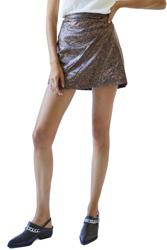 Dark Leopard Printed Fake Out Faux Wrap Skirt BROWN MULTI -