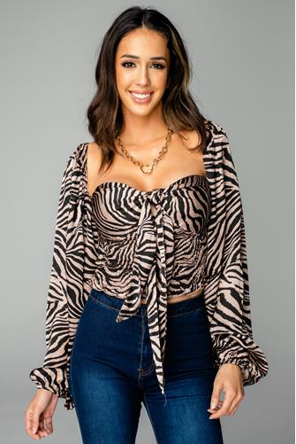 Yasmine Claw Tie Front Top BLACK MULTI -