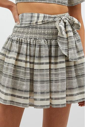 Tidal Stripe Tie Waist Mini Skirt GREY MULTI -