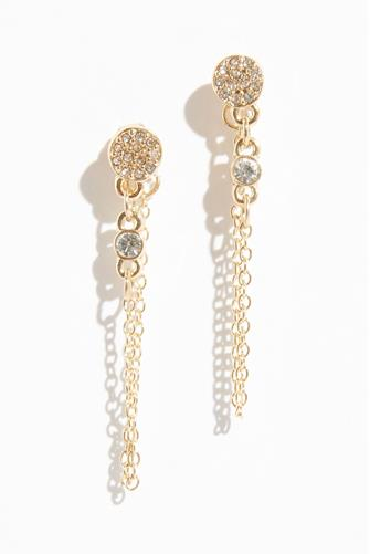 Cubic Zirconia Circle Stud Chain Earrings GOLD