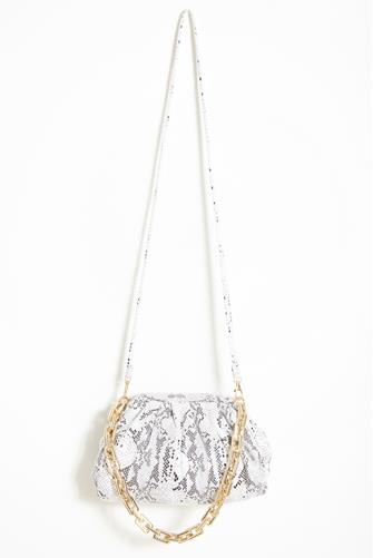 Cassie Snake Gold Link Crossbody Bag WHITE MULTI -