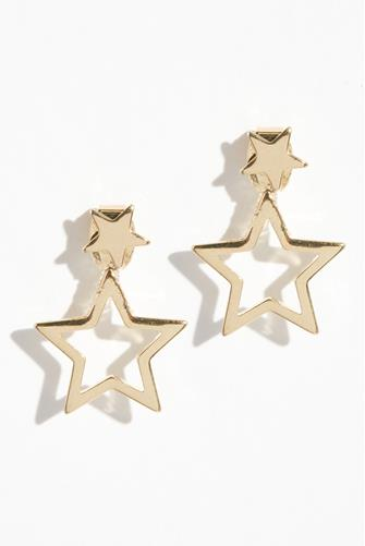 Mini Gold Star Ear Jacket Earrings GOLD