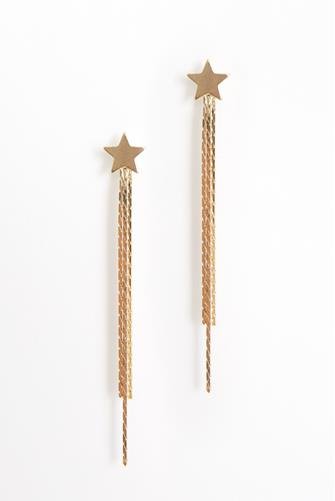 Gold Star Linear Fringe Earrings GOLD